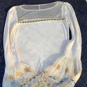 Free People Beautiful Embroidered Bell Sleeve Top